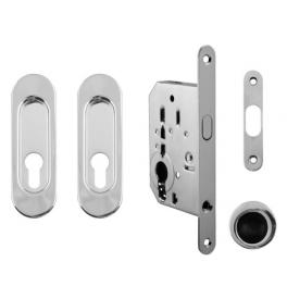Set na posuvné dvere oválny FT - OC - Chróm lesklý